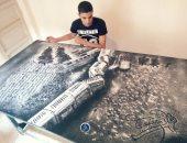 """بالصور.. شاب يرسم المشاهير بـ""""ملح الطعام"""".. أبرزهم أحمد حلمى والشعراوى"""