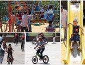 إقبال كبير من المواطنين على حديقة الفسطاط فى ثالث أيام العيد
