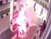 شاب ينجو من كارثة محققة قبل انفجار دراجته