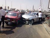 فيديو.. زحام مرورى أعلى محور صفط اللبن بسبب حادث تصادم سيارتين