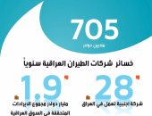بالانفوجراف.. 28 شركة جوية أجنبية تسيطر على 73% من سماء العراق