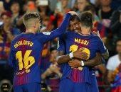 """شاهد.. ميسي يسجل """"هاتريك"""" فى تقدم برشلونة على إيبار 1/5 حتى الدقيقة 65"""