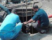 """بالصور.. مياه أسيوط تنتهى من إصلاح كسر خط صرف صحي بـ""""أبوتيج"""""""