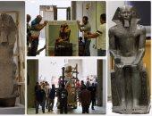 10 تماثيل ضخمة تغادر التحرير  إلى المتحف المصرى الكبير
