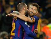ميسي وسواريز فى هجوم برشلونة أمام سبورتنج لشبونة بدورى أبطال أوروبا