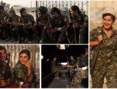 جميلات الأكراد مدججات بالسلاح وسط شوارع مدينة الرقة بعد طرد تنظيم داعش
