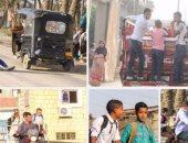 """بالصور .. الحمار والموتوسيكل والـ""""شعبطة"""".. وسائل ذهاب طلاب """"الريف"""" للمدرسة"""
