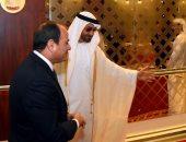 بالصور.. محمد بن زايد فى مقدمة مستقبلى الرئيس السيىسى لدى وصوله مطار أبو ظبى