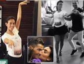 """بالصور.. صديقة رونالدو """"الحامل"""" تتعلم الرقص استعدادا للزفاف"""