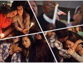 بالصور.. وقفة بالشموع بلاس فيجاس الأمريكية تأبينا لضحايا الحادث الإرهابى