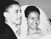 2 مليون إعجاب لصورة زفاف أوباما وميشيل فى الذكرى الـ25 لزواجهما
