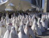 """شاهد.. عرس جماعى لـ""""199 عريس وعروسة"""" بالشيشان فى ذكرى تأسيس العاصمة"""