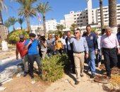 بالصور .. محافظ بورسعيد يتفقد أعمال تطوير حديقة المسلة