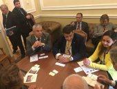 """بالصور.. وفد """"النواب المصرى"""" يلتقى ممثلى برلمان إيطاليا بمؤتمر فى روسيا"""