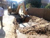 إصلاح كسر فى خط مياه الشرب بقرية دقهلة بدمياط