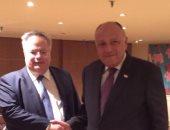 وزير الخارجية يبحث مع نظيره اليونانى جهود مصر لإحياء عملية السلام بفلسطين