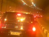 كثافات مرورية داخل نفق الأزهر فى اتجاه صلاح سالم بسبب حريق سيارة