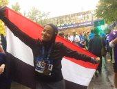 منال رستم مصرية ترفع علم مصر فى مارثون بنيويورك