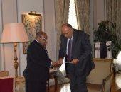 """سامح شكرى يلتقى وزير خارجية جزر القمر ويتسلم رسالة من """"عثمان"""" للسيسى"""