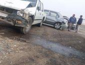 مصدر أمنى: فتحة أعلى طريق بنها الحر وراء حادث تصادم 24 سيارة