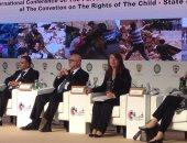 غادة والى ترأس الجلسة الثانية فى مؤتمر دولى حول معاناة الطفل الفلسطينى