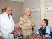 رئيس الأركان يطمئن على حالة رجال الجيش المصابين فى العمليات الإرهابية