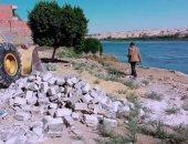 إزالة 15 حالة تعدى بالبناء على مجرى النيل جنوب بنى سويف