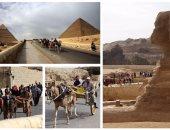 إقبال كبير من السائحين على زيارة الأهرامات