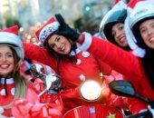 صور.. انطلاق موكب الدرجات النارية فى إسبانيا احتفالا بالكريسماس