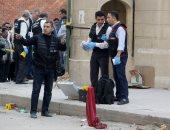 صور.. المعمل الجنائى يجمع فوارغ الطلقات من موقع استهداف كنيسة مارمينا بحلوان