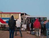 قارئ يشارك بصور لحادث تصادم أتوبيسين على طريق أبو رديس