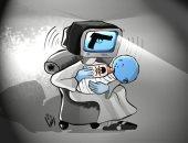 """""""حال الدنيا"""".. كاريكاتير يبرز الأثر السلبى للعنف المقدم فى الدراما ووسائل الإعلام"""