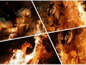 الفروسية فى قلب النار.. مهرجان قفز الجياد وسط النيران بإسبانيا