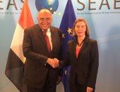 """سامح شكرى يبحث مع نائب رئيس المفوضية الأوروبية """"القضية الفلسطينية"""""""