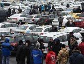 صور.. إضراب سائقى التاكسى فى التشيك ضد شركة النقل الخاصة أوبر