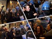 صور.. اشتباكات بين شرطة إيطاليا ومحتجين بعد العثور على جثة فتاة داخل حقيبة