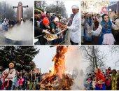 """رقص وأغانى وحلوى فى احتفالات روسيا بمهرجان """"استقبال الربيع"""""""
