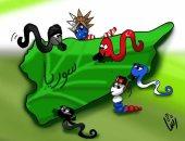 """حال الدنيا.. سوريا """"كرام على موائد اللئام"""" فى كاريكاتير اليوم السابع"""