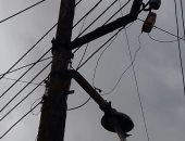 قارئ يشكو من عمود كهرباء مائل بقرية أبو خليل فى كفر الشيخ