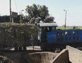 صور.. قطارات الديكوفيل بأسوان تتحدى الزمن وتواصل نقل القصب لمصانع السكر