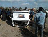 توقف حركة المرور على إقليمى الجيزة بعد إصابة 5 أشخاص فى انقلاب ميكروباص