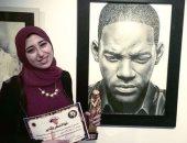 """فنانة مصرية ترسم ويل سميث.. والأخير ينشر الصور على """"إنستجرام"""" ويشكرها"""
