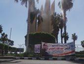 فيديو وصور.. هيئة السد العالى تعلق لافتات لتأييد السيسي أمام السائحين