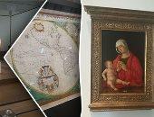 """صور.. داخل متحف اللوفر أبو ظبى """"الحلقة الثالثة"""".. نماذج تعرض طرق قوافل الحرير.. """"ملاك يحمل مبخرة"""" أبرز اللوحات.. نسيج يصور مشهدا من الكتاب المقدس فى الغرفة المظلمة.. وخريطة نصف الكرة الأرضية عمرها 1670 عاما"""