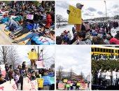 طلاب المدارس الأمريكية يتظاهرون للمطالبة بتشديد قوانين حيازة الأسلحة