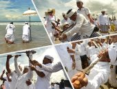 """الهندوس يحيون """"يوم الصمت والعزلة"""" بالخناجر فى إندونيسيا"""