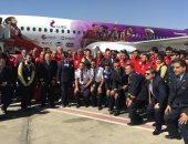 المنتخب يلتقط صورة تذكارية مع الطائرة الخاصة قبل السفر إلى سويسرا