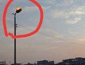 كشاف إضاءة مركب بالمقلوب فى مدينة أبو حمص بالبحيرة