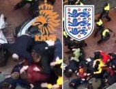 فيديو وصور.. اشتباكات بين الشرطة الهولندية ومشجعين إنجليز فى أمستردام