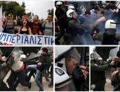 """تحت شعار """"الأمريكيون قتلة"""".. يونانيون يتظاهرون فى أثينا احتجاجا على قصف سوريا"""